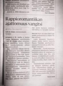 Helsingin Sanomat, 24th May 2014.